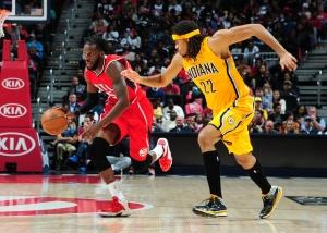 Atlanta Hawks' forward DeMarre Carroll (left)Photo credit: Scott Cunningham – NBAE/Getty Images