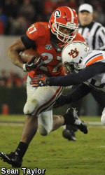 Georgia running back Nick Chubb (27) breaks a tackle during Georgia's game with Auburn on Saturday, November 15, 2014 in Athens, Ga. (Photo by Sean Taylor)