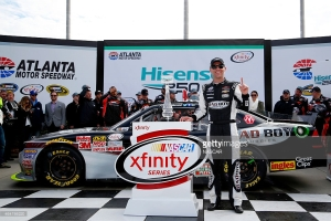 Kevin Harvick celebrating his NASCAR XFINITY Series Hisense 250 at Atlanta Motor Speedway on February 28, 2015 in Hampton, Georgia.Photo credit: Getty Images / Matt Sullivan