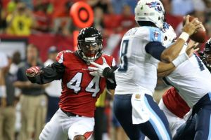 Atlanta Falcons defensive lineman Vic Beasley (44)Photo credit:  Jason Getz-USA TODAY Sports